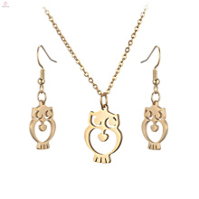 New Arrival Stainless Steel Wholesale Earring Gold Owl Necklace Jewelry Set