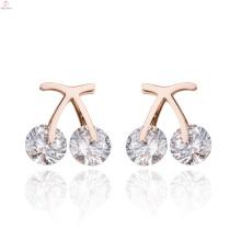 Creative Rose Gold Stainless Steel Cherry Zircon Fruit Earrings