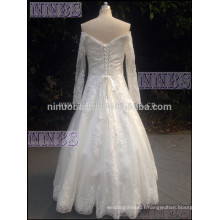 2015A Line Cap Long Sleeve Lace Wedding Dress With Beading Appliques White Bridal Gown