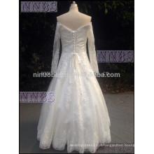 2015A Line Cap Casacos de manga comprida Vestido de noiva com Beading Appliques Vestido de noiva branco