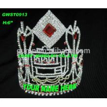 Tiara y corona modificados para requisitos particulares coloridos altos con cualquier logotipo