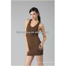 Falda sin mangas de la mejor calidad de la muchacha con los hombro-correas, falda corta inconsútil de la manera de la señora