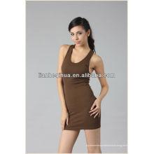 Jupe de fille sans soudure de meilleure qualité avec bretelles, jupe courte sans manches