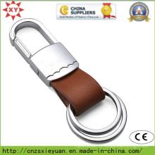 Chaveiro de couro de dois anéis com fecho de metal