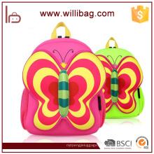 Sacos de escola bonitos da borboleta, saco de escola dos desenhos animados do neopreno para crianças