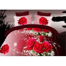 100% poliéster diseños en 3D tela impresa de flores para beding