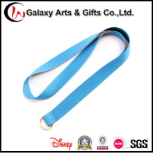 Polyester Single Pure Blue Plain Lanyard with Keyring