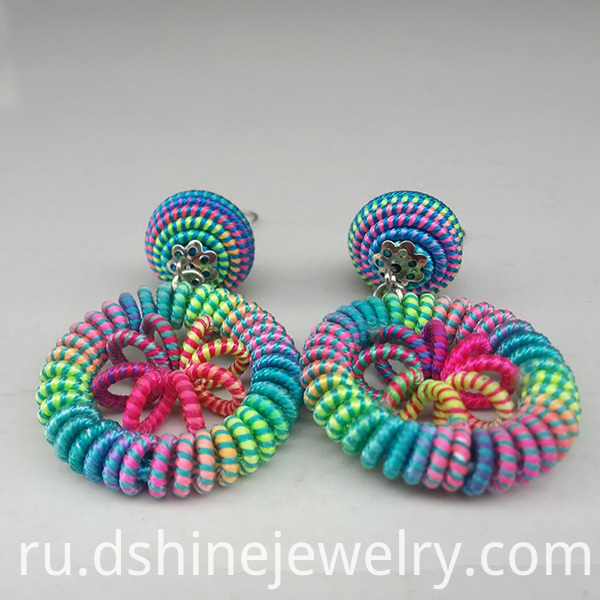 Rainbow Thread Weaved Earring