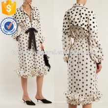 Белый и черный горошек-принт хлопок-поплин платье Производство Оптовая продажа женской одежды (TA4066D)