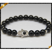 Rodada grânulos preto ágata pulseiras lábios lisa para presente da jóia (CB0121)