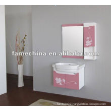 2013 hot sell pink flower printed pvc bathroom cabinet