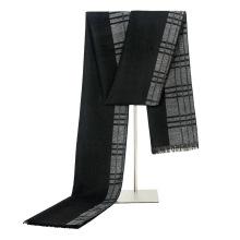 Écharpe en coton tricoté à carreaux noir et gris