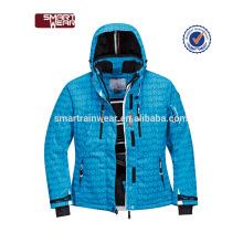 Jaqueta de esqui com capuz europeu exterior novo design para homens