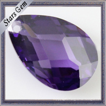 6X8mm Pear Shape Amethyst Cubic Zirconia with Hole for Jewelry