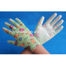 SAFETY women garden Work pu coated nylon gloves