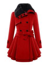 Fashion Women Winter Coat Female Turn-Down Collar Long Sleeve A-Line Coat