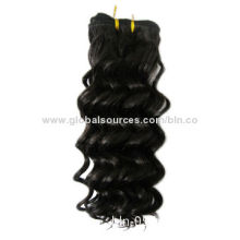 100% Human/Brazilian Hair Weave, Tangle and Shedding-free, Natural, 12-inch Europe Deep Curl