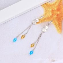 Rhodium Plated Long Chain Plastic Ball Fashion Earring (22649)