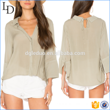 High Quality Woman Linen Shirt Long Sleeve shirt fashion deep v neck blouse