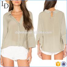 Camisa de linho de alta qualidade mulher camisa de manga longa blusa de gola v profundo