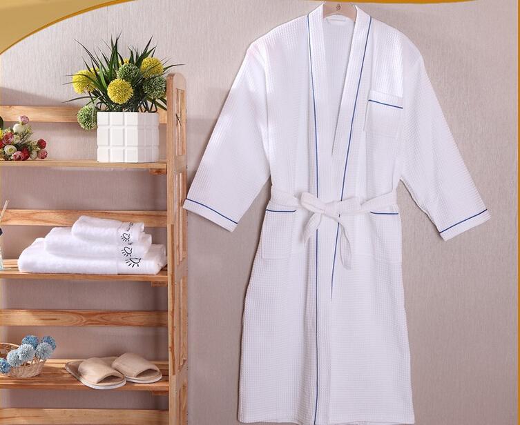 100 % coton frais waffle kimono col peignoir