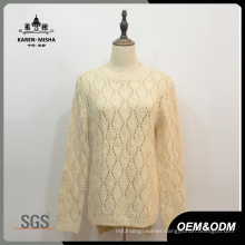 Women White Argyle Hi-Lo Hem Sweater