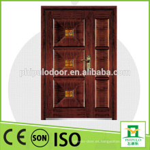 Puerta de entrada mian del diseño de madera de la puerta blindada de la puerta doble de seguridad 2016