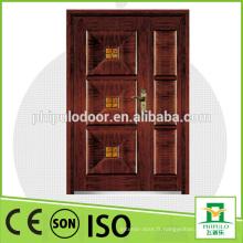 2016 porte blindée de sécurité double porte en bois design porte d'entrée mian