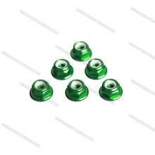 Écrous en aluminium cnc personnalisé M3 écrou de blocage, vert bride écrou
