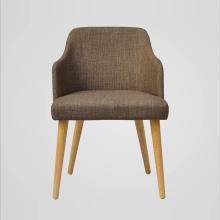 Chaise en bois en tissu à haute armature pour salle à manger