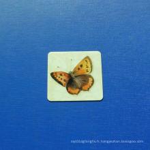Badge imprimé carré offset, insigne papillon époxy-gouttant (GZHY-OP-020)