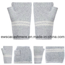 Women′s Pure Cashmere Finger-Less Gloves with Stripes