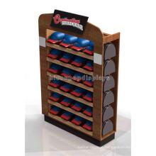 Creative Handmade Floor Standing Retail Store 6-Tier Promotional Custom Solid Wood Hat Display Rack