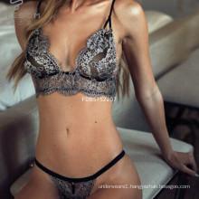 2017new design women sheer lace Bra Panties set sexy simple bra and panty