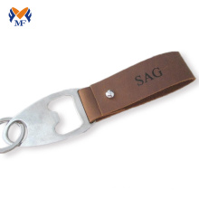 Personalized leather keychain bottle opener for mens