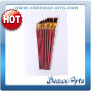 Acrylic Brushwith paint brush set--bicolor nylon hair with golden brass ferrule and long red birchwood handle