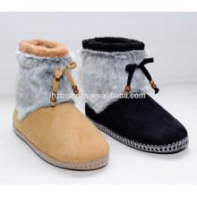 2015 Mode Damen Pelz Anti-Rutsch-Sohle Bowknot Mitte-Kalb Winter Stiefel
