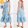 Heißer Verkauf Blau Sleeveless Krawatten Rüschen Saum Midi Sommer Täglichen Kleid Herstellung Großhandel Mode Frauen Bekleidung (TA0002D)
