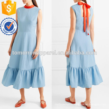 Hot Sale Blue Sleeveless Ties Ruffled Hem Midi Summer Daily Dress Manufacture Wholesale Fashion Women Apparel (TA0002D)
