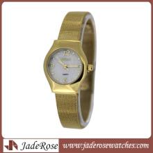 Reloj de pulsera de cuarzo elegante con esfera dorada y correa de acero inoxidable Lady Mop