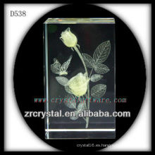 K9 3D Laser Yellow Rose Inside Crystal Block