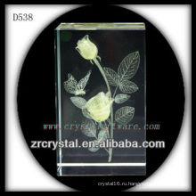 К9 лазерный 3D желтая Роза внутри кристалла блок
