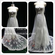 Vestido de noiva sem alças Strapless com renda de casamento com banda de strass BYB-14503