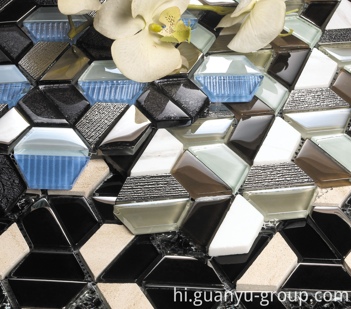 Mix Color Hexagon Crystal Mosaic