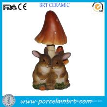 Loving Rabbit Resin Garden Statues with Mushroom