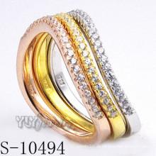 925 Silber Zirkonia Schmuck mit Frauen Kombination Ring (S-10494)