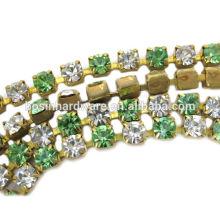 Moda de alta qualidade metal bronze strass cadeia com cristal