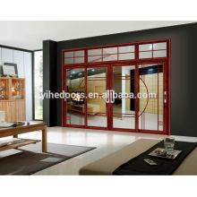 Красная персиковая большая раздвижная алюминиевая дверь для гостиной
