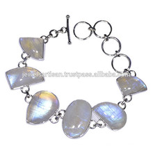 Rainbow Moonstone Gemstone 925 Bracelet en argent sterling Jewelry