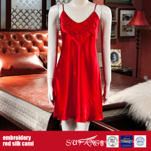 Luxury Hotel Use Solid Color Red Embroidery Silk Cami